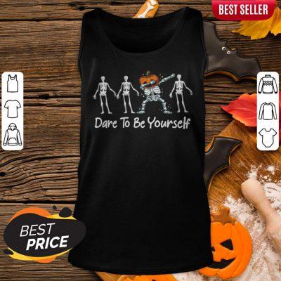 Dare To Be Yourself Pumpkin Dabbing Skeleton Hallo Halloween Tank Top