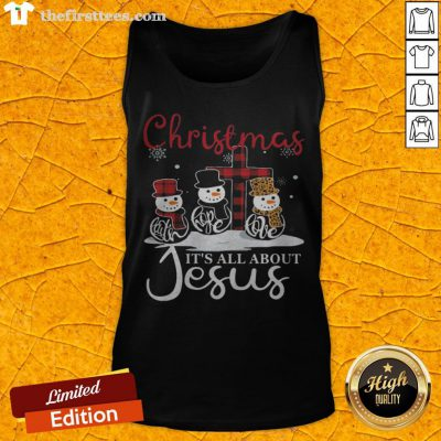Pretty Snowman Christmas It's All About Jesus Tank Top - Design By Thefirsttees.com