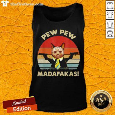 Cat Jason Voorhees Pew Pew Madafakas Vintage Retro Tank Top - Design By Thefirsttees.com