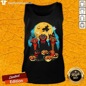 Dachshund Dracula Pumpkin Moonlight Happy Halloween Tank Top - Design By Thefirsttees.com