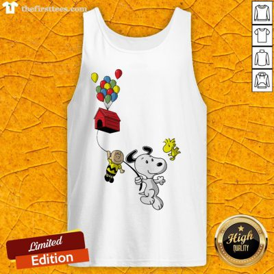 Snoopy And Charlie Brown Woodstock Balloon Tank Top - Design By Thefirsttees.com