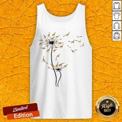 Pretty Giraffes Dandelion Flower Tank Top