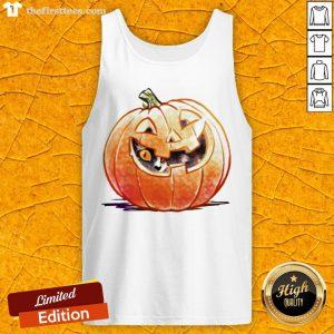 Grateful Pumpkin Spice Kitty Cat Halloween Tank Top