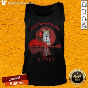 We All Meow Down Here Clown Cat Pennywise Kitten Moon Blood Halloween Tank Top - Design By Thefirsttees.com