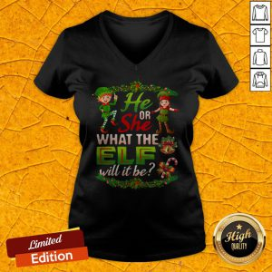 He Or She What The Elf Will It Be Christmas Unisex V-neck