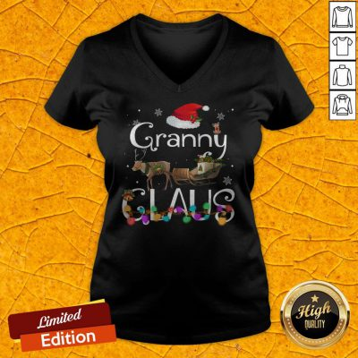 Colorful Granny Claus Christmas V-neck