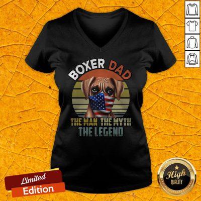Boxer Dad Dog US Flag Face Mask The Man The Myth The Legend V-neck