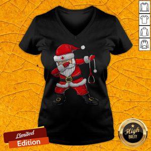 Cute Dabbing Santa Nurse Christmas Unisex V-neck