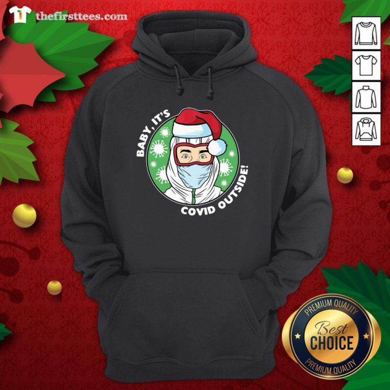 Original Baby It's Covid Outside Christmas Hoodie - Design By Thefirsttees.com