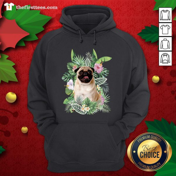 Lovely Pug White Flower Hoodie - Design By Thefirsttees.com