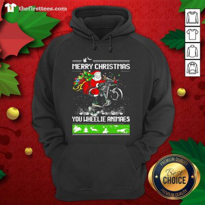 Santa Claus Motorcycle Merry Christmas You Wheelie Animals Hoodie - Design by Thefristtee.com