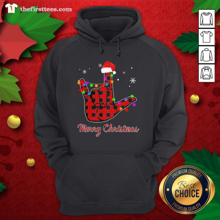 Grateful Plaid Post Malone Hand Santa Merry Christmas Hoodie - Design By Thefirsttees.com