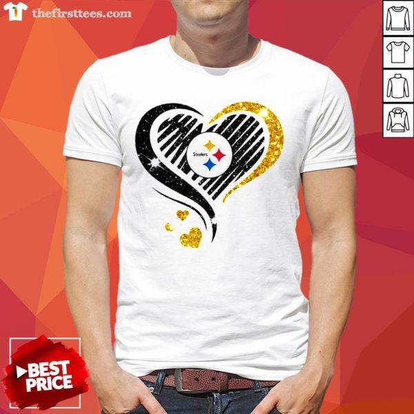 Nice Pittsburgh Steelers Diamond Heart Shirt