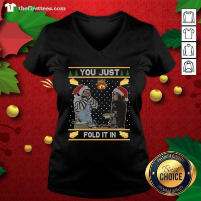 Nice You Just Fold It In Fold In The Cheese Ugly Christmas V-neck - Design By Thefirsttees.com