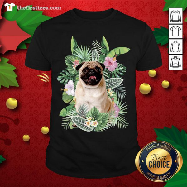 Lovely Pug White Flower Shirt - Design By Thefirsttees.com