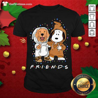 Lovely Golden Retriever And Snoopy Friends Light Shirt - Design By Thefirsttee.com