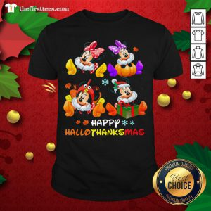 Grateful Happy Hallothanksmas Christmas Mickey And Minnie Mouse Shirt - Design By Thefirsttee.com