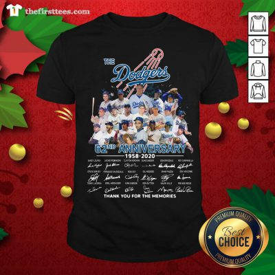 Top The Los Angeles Dodgers 62nd Anniversary 1958-2020 Thank You Signatures Shirt - Design By Thefirsttees.com