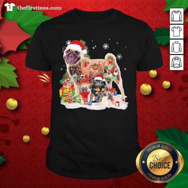 Pugs Hat Santa Happy Merry Christmas 2020 Shirt - Design by Thefristtee.com
