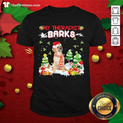Puggle Hat Santa My Therapist Barks Happy Merry Christmas Shirt - Design by Thefristtee.com
