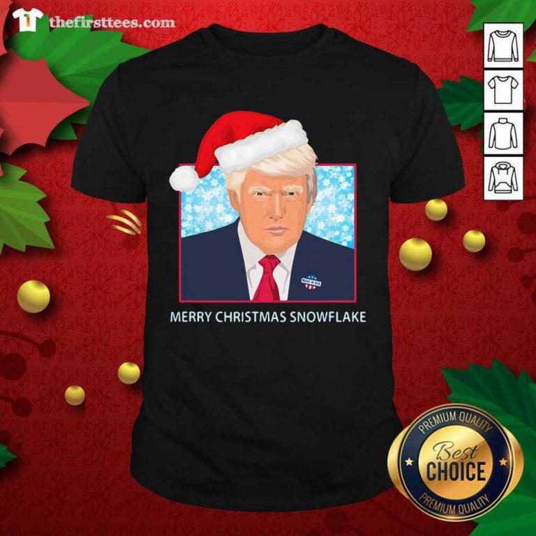 Merry Christmas Snowflake Donald Trump Wear Hat Santa Shirt - Design by Thefristtees.com