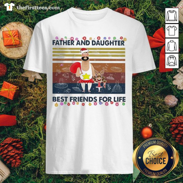 Pretty Father And Daughter Best Friends For Life Light Christmas Vintage Retro Shirt - Design By Thefirsttees.com