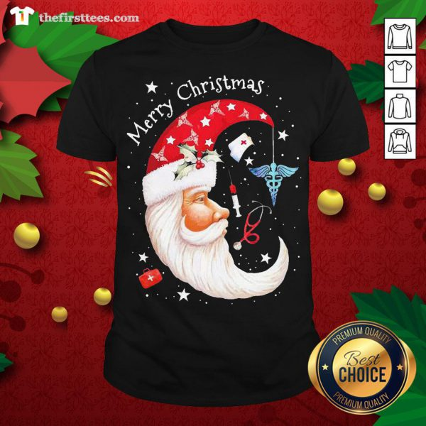 Pretty Moon Santa Nurse Happy Merry Christmas Shirt - Design By Thefirsttees.com