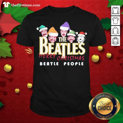 Cool Snoopy And The Beatles Santa Merry Christmas Beatle People Christmas Shirt - Design By Thefirsttees.com