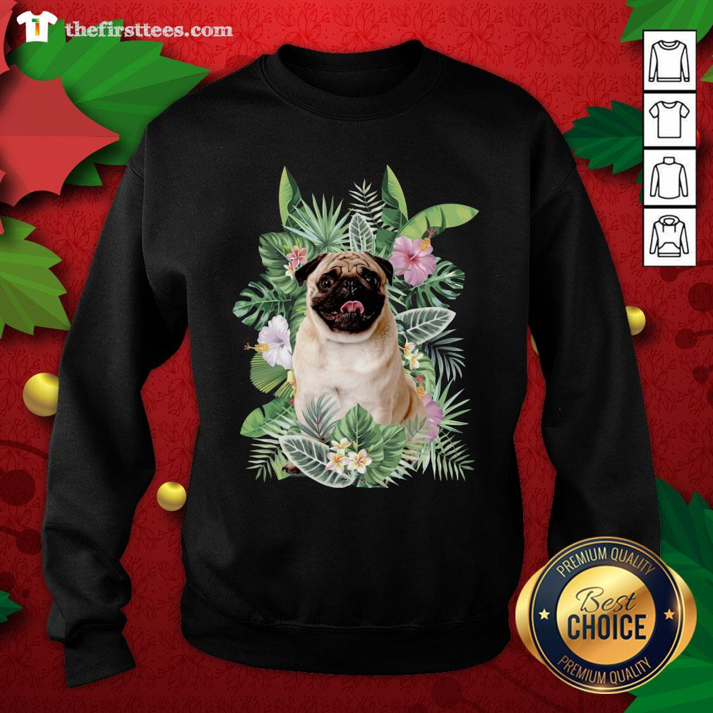 Lovely Pug White Flower Sweatshirt - Design By Thefirsttees.com