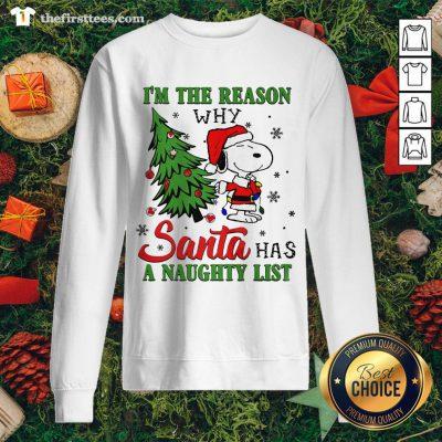 Cute Santa Snoopy I'm The Reason Why Santa Has A Naughty List Christmas Sweatshirt - Design By Thefirsttee.com