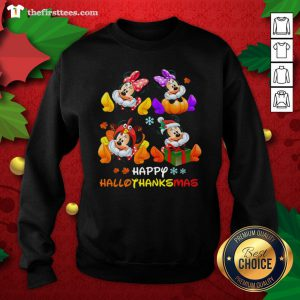 Grateful Happy Hallothanksmas Christmas Mickey And Minnie Mouse Sweatshirt - Design By Thefirsttee.com
