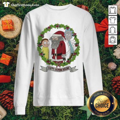 Hot Rick And Morty Santa Happy Human Holiday Christmas Sweatshirt - Design By Thefirsttees.com