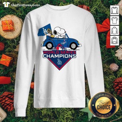 Lovely Snoopy And Woodstocks Los Angeles Dodgers 2020 World Series Champion Sweatshirt - Design By Thefirsttees.com