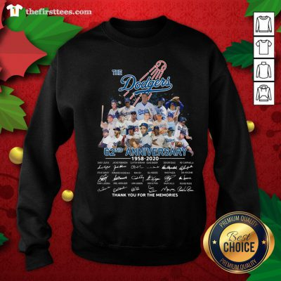 Top The Los Angeles Dodgers 62nd Anniversary 1958-2020 Thank You Signatures Sweatshirt - Design By Thefirsttees.com