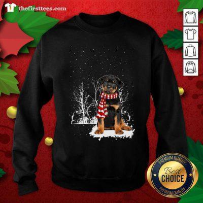 Rottweiler Snow Scarf Christmas Sweatshirt - Design by Thefristtee.com