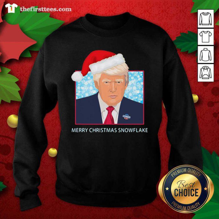 Merry Christmas Snowflake Donald Trump Wear Hat Santa Sweatshirt - Design by Thefristtees.com