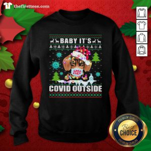 Babay It's Covid Outside Chihuahua Wear Hat Santa With Mask Merry Xmas Sweatshirt - Design by Thefristtees.com