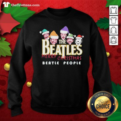 Cool Snoopy And The Beatles Santa Merry Christmas Beatle People Christmas Sweatshirt - Design By Thefirsttees.com