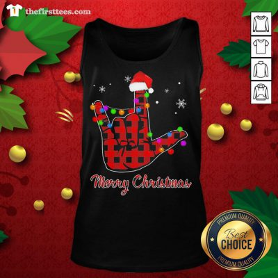 Grateful Plaid Post Malone Hand Santa Merry Christmas Tank Top - Design By Thefirsttees.com