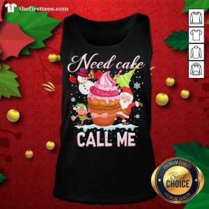 Lovely Santa And Snowman Claus Need Cake Call Me Christmas Tank Top - Design By Thefirsttees.com