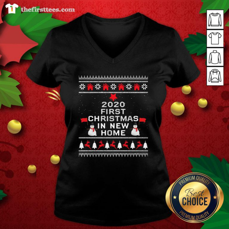 Official 2020 First Christmas In New Home Ugly Christmas V-neck - Design By Thefirsttees.com