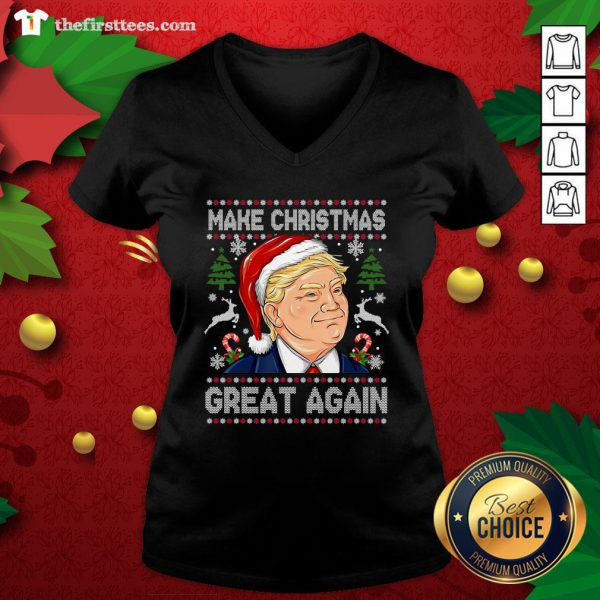 Cute 2020 Trump Make Christmas Great Again V-neck - Design By Thefirsttees.com