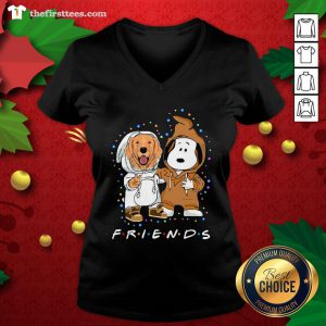 Lovely Golden Retriever And Snoopy Friends Light V-neck - Design By Thefirsttee.com