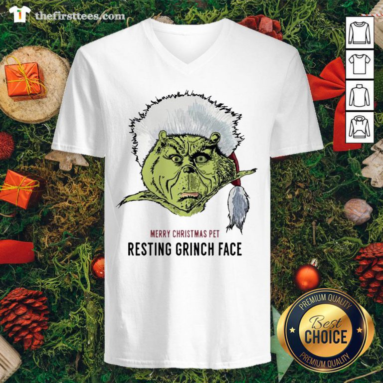 Funny Merry Christmas Pet Resting Grinch Face V-neck - Design By Thefirsttee.com
