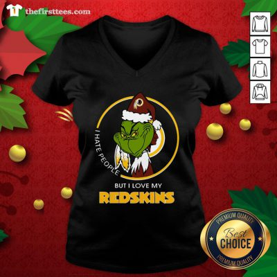 Grateeful I Hate People But I Love My Washington Redskins Grinch V-neck - Design By Thefirsttee.com