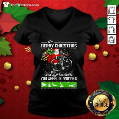 Santa Claus Motorcycle Merry Christmas You Wheelie Animals V-neck - Design by Thefristtee.com