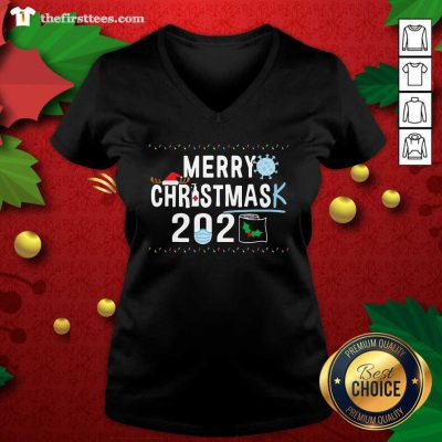 Merry Christmas 2929 Toilet Paper Mask Coronavirus V-neck - Design by Thefristtees.com