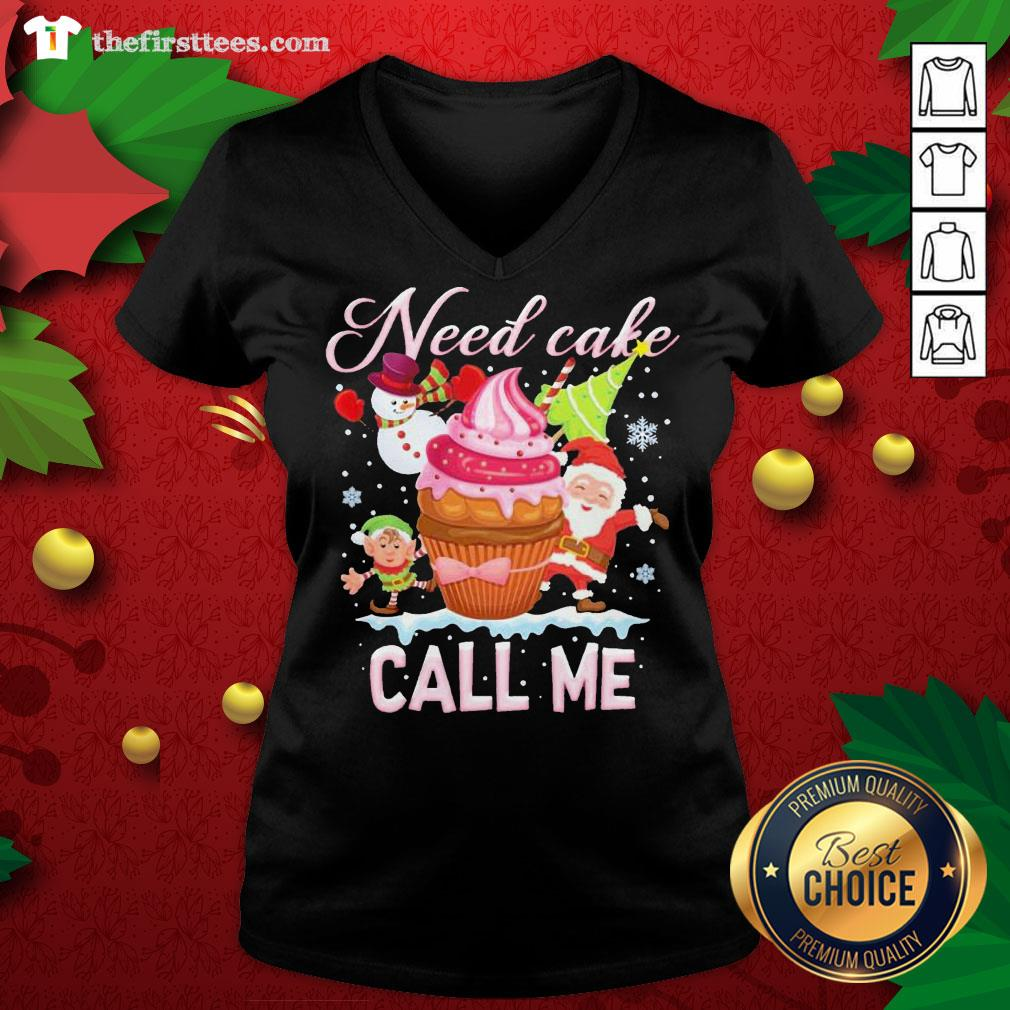 Lovely Santa And Snowman Claus Need Cake Call Me Christmas V-neck - Design By Thefirsttees.com