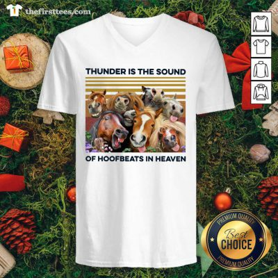 Horses Thunder Is The Sound Of Hoofbeats In Heaven Vintage Retro V-neck - Design by Thefirsttees.com