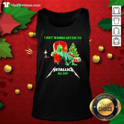 The Grinch And Dog I Just Wanna Listen To Metallica All Day Tank Top - Design by Thefirsttees.com